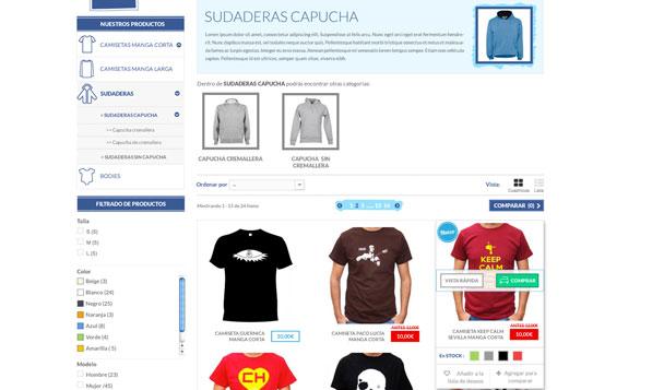 Vista listado de productos de tienda online Prestashop de camisetas