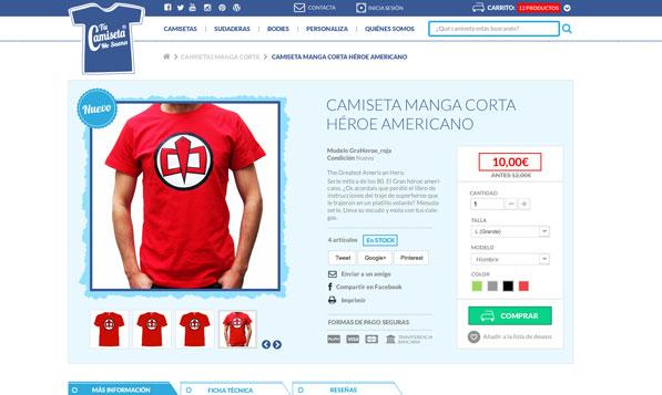 Ficha de producto de tienda online Prestashop de camisetas