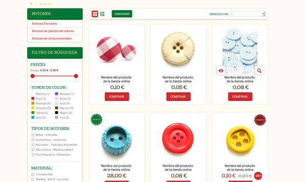 Categoría de Prestashop de mercería online Truben
