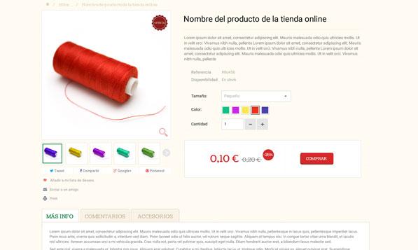 Ficha de producto de tienda online Prestashop Truben