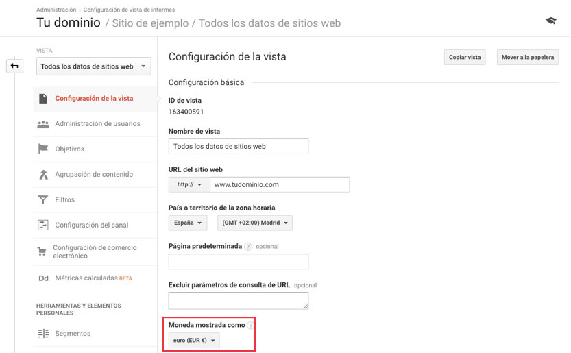 Especificar moneda Google Analytics
