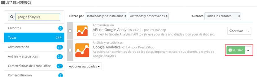 instalar módulo Analytics Prestashop